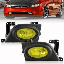 2006-2008 Honda Civic 4-DR JDM Style Chrome Housing Yellow Lens Fog Light Lamps