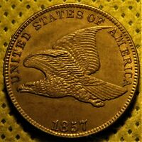 Uncirculated 1857 Obverse of 1856 Flying Eagle Cent. FS-401b