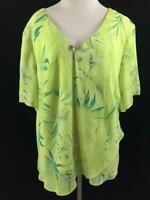 Studio I top size 24W blouse green floral lined short sleeve tropical