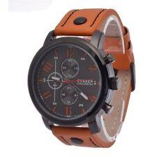 Fashion Curren Men's Leather Stainless Steel Sport Analog Quartz Wrist Watch #CN