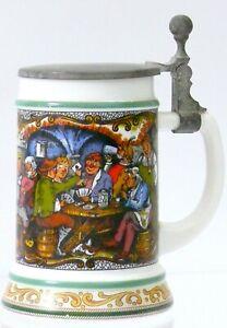 Vintage German BMF Bierseidel Lidded Beer Stein