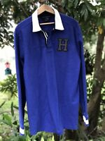 Tommy Hilfiger Mens Rugby Polo Size Large L Blue Patches