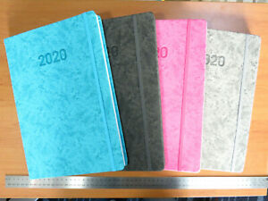 OUTDATED Diary 2020  Textured  Marbled A4 DAY TO PAGE elastic closer - 4 Colours
