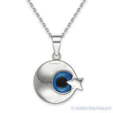 Evil Eye Turkish Nazar Pendant Islamic Muslim Crescent Moon Star Silver Necklace