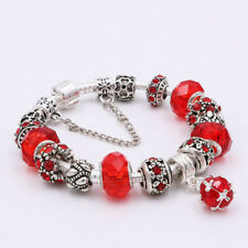 Silver Plated European Red Charm Crystal Beads Bracelet Bangle Gifts Women Girl