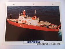 CARTE FICHE NAVIRES DE GUERRE HESPERIDES 1990 NAVIRE OCEANOGRAPHIQUE