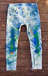 Diesel Jeans UNIKAT SLEENKER 34 MULTI Waschung Acid Domestos Slim GaY PunK RARE