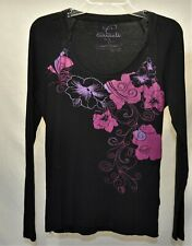 G1400-CURRANTS Women's Thermal Long Sleeve Shirt with Graphics~ Size Large ~ EUC