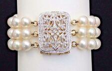 14K Yellow Gold Cultured Pearl and Diamond Bracelet Detachable Diamond Pendant