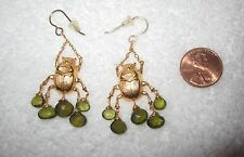 Egyptian Revival Scarab Chandelier Earrings Peridot Gold Tone or Plated --New