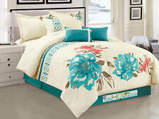 7-Pc Watercolor Floral Blossom Clover Embroidery Comforter Set Teal Blue Queen
