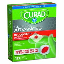 CURAD BLOOD STOP GAUZE 10 sterile packets Stops Bleeding Quickly