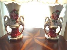 2 vintage Swan handle urn style lamps working white with roses & 2 lamp shades
