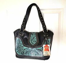 Montana West Concealed Carry Western Cowgirl Handbag Black Western Bag Purse
