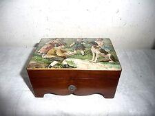Vintage Swiss Musix Box Plays 2 Tunes, Oil Print of Children Scene