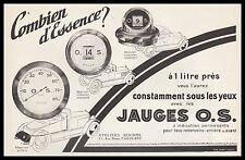 PUBLICITE LES JAUGES O.S. OS COMPTE TOURS  ACCESSOIRES AUTOMOBILE   AD  1926 -2H
