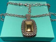 BRIGHTON Silver/Gold Ornate Pendant on a  Double Chain Necklace