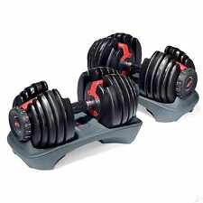 Pair of Bowflex Selecttech 552 Adjustable Dumbbells 100 2 50 lb Dial-up Weights