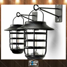 2 x Security Solar Wall Light Lantern Outdoor 3000K Rustic Decorative Lights