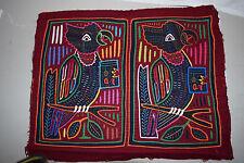 Vintage Mola Christmas Singing Birds - handmade - from San Blas Islands, Panama
