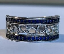 Pre Owned Women 925 Sterling Silver Blue White Crystal Heart Band Size 6