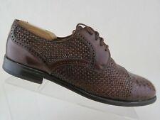 MIGUEL ANGEL Weave Crocodile Brown Sz 12 M Men Cap-Toe Derby Dress Shoes