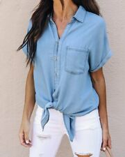 UK Women Short Sleeve Denim Button Up Shirt Tops Ladies Loose Jeans Blouse Tee