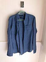 Men's Banana Republic Wash blue Camden Fit 100% Linen Button Up Shirt Size M