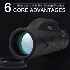 80x100 Outdoor Monocular Telescope HD Lens Telephoto + Phone Clip + Tripod BAK4