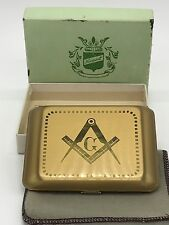 Masonic Cigarette Case Made By Newport Gold Tone Finish Masons