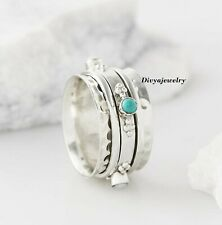 Turquoise Stone Solid 925 Sterling Silver Spinner Ring Meditation Ring Size S123