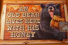 Honey Black Bear Welcome Rug Door Mat Cabin Lodge Home Decor Heavy Rubber Back