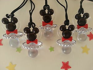 12 Mickey Mouse Pacifier Necklaces Baby Shower Game Favors Prizes Boy Decoration