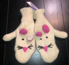 Nepal Handcrafted Knit Winter Wool Mittens Bunny Rabbit. Adult Size. NWT