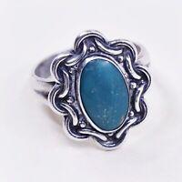 Sz 6 Vtg Native American Navajo Handmade Sterling 925 Silver W/ Turquoise Ring