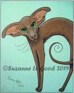 Oriental Cat art print Cinnamon large from original painting by Suzanne Le Good