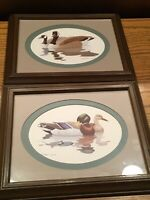 Pair of Richard Sloan Framed Double-Matted Mallard Duck Canada Geese Prints 1980