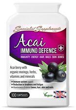 Acai Immuno Defence , vitamin B6, biotin, organic Moringa Oleifera, Vegan 100Cps