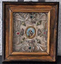 "Klosterarbeit ""Hl. Franziskus"" , 19.Jh., Glassteine, Aquarell, 29/32 cm"