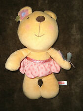 FISHER PRICE DOUDOU ours jupe rose papillon hochet 29 cm TBE