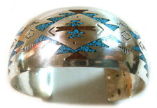 Navajo Cuff Bracelet Signed B Sterling Silver with Chips Inlay