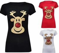 Womens Ladies Christmas Glitter Reindeer Santa Snowman Printed T-Shirt Tops 8-30