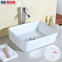"19"" Bathroom Rectangular Porcelain Vessel Sink Above Counter White Countertop US"