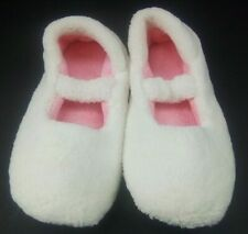 Avon Wellness Womens Ballerina Slippers Size 6 Fluffy - Off White & Pink - New