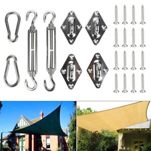 8pc Sun Sail Shade Canopy Stainless Steel Fixing Fittings Hardware Accessory Kit