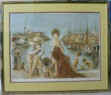 Original Lithograph By Jacques Lalande 'Harbor' Gifted Artist/Fine 28.5 X 34