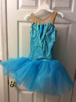 A WISH Come True Girls Large Size 12 14 Dance Costume Turquoise Sequins Tutu