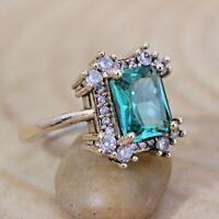 Aquamarine Ladies Ring 925 Sterling Silver Handmade Gemstone Turkish Size 6-12