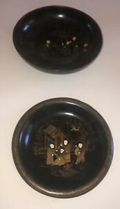 Two Antique Lacquer Ware Large Bowls Chinoiserie Style 19th Century
