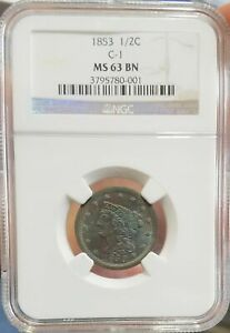 1853 NGC MS 63 BN 1/2C C-1 Large Half Cent Uncirculated BU Braided Hair US Coin